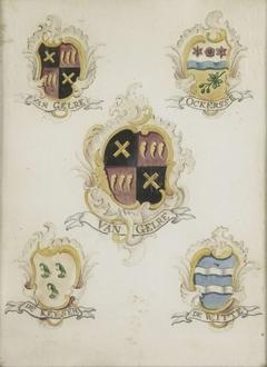 Het wapen van Anna Digna van Gelre, echtgenote van Laurens Jacobsz de Witte, met de wapens van haar vier grootouders