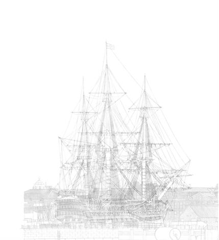HMS Victory in No2 Dry Dock (cartoon) at Portsmouth's Royal Naval Dockyard