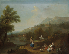 Idyllic River Landscape with Figures
