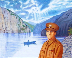 'In 1945 he helped to liberate Norway' (2012) Oil on linen, 80 x 100 cm