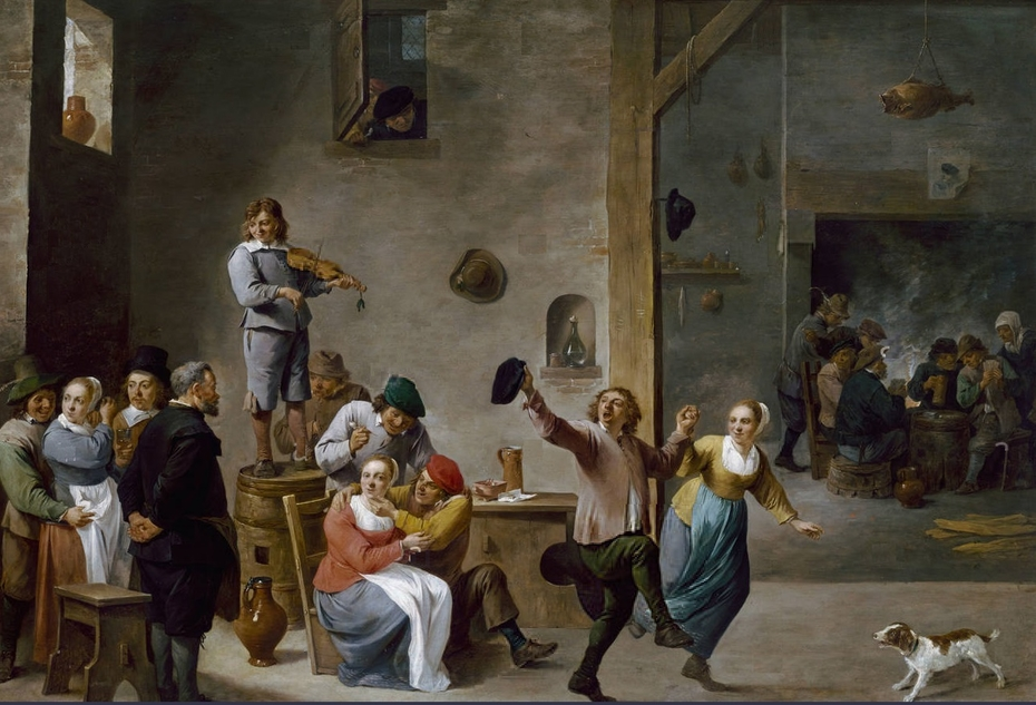 Interior of an inn with dancing peasants