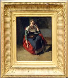 Italian sitting, leaning on her knee