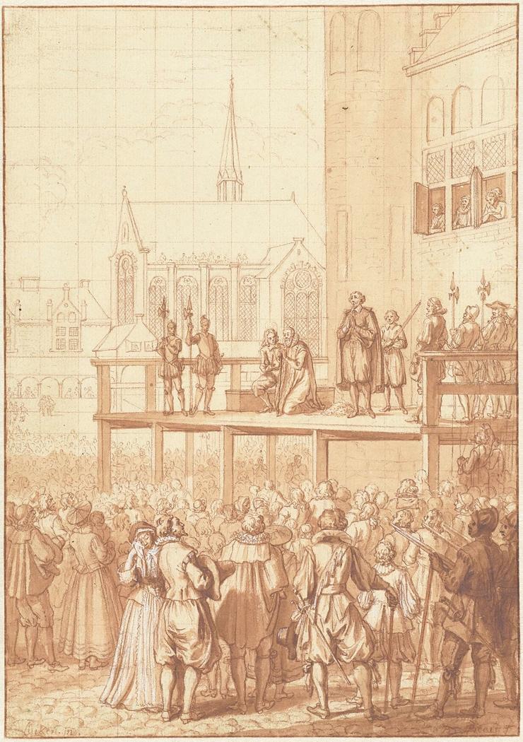 Johan van Oldenbarnevelt knielt voor zijn onthoofding, 1619
