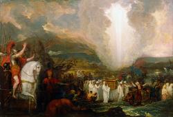 Joshua passing the River Jordan with the Ark ...