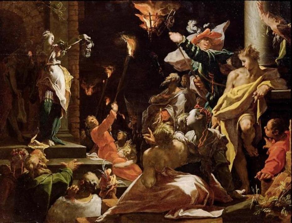 Judith zeigt dem Volk das Haupt des Holofernes