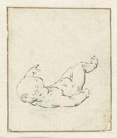 Kind liggend op de rug, de benen omhoog
