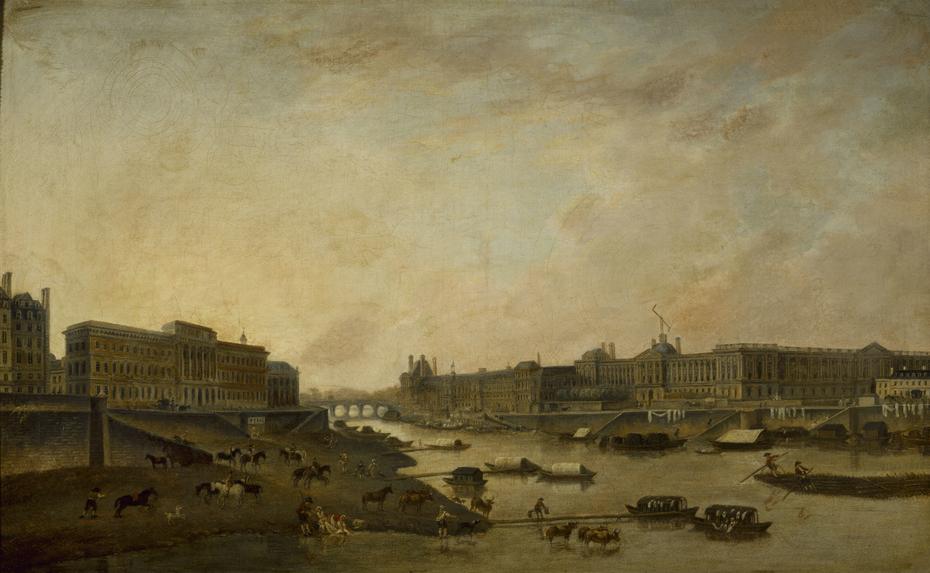 L'Hôtel de la Monnaie et le Louvre, vus du Pont-Neuf, vers 1800