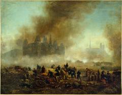 L'Hôtel de Ville incendié, assailli par les troupes de Versailles