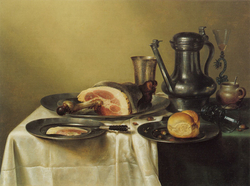 Laid Table with Ham and a Roll