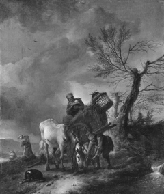 Landscape with peasants and a horse