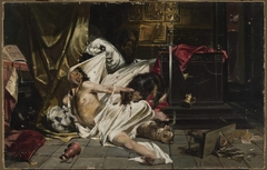 Man fighting with wolves