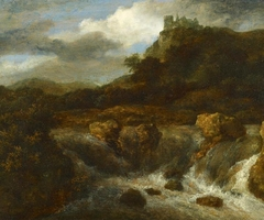 Mountainous landscape with a waterfall, in the background on the right Bentheim castle