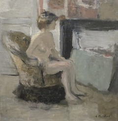 Nude Seated before a Fireplace