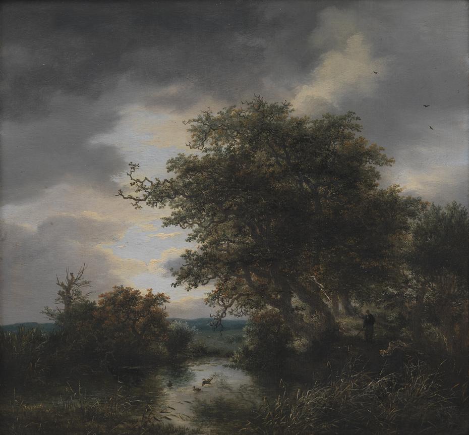 Oak Trees by a Pond