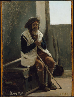 Old Man Seated on a Trunk