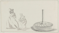 Ontwerp op koperen vaas in herberg te Avellino en twee vrouwen in klederdracht