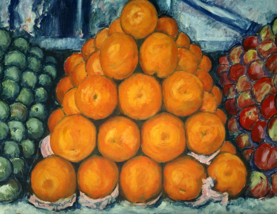 'Orange pyramid' (1972) oil on canvas, 71 x 90.5 cm