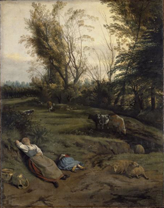 Pasture with two sleeping shepherdesses