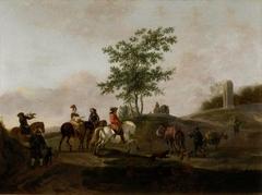 Paysage avec chasseurs et muletiers