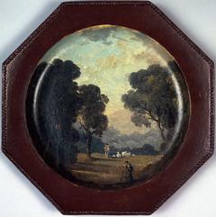 Paysage peint sur une assiette