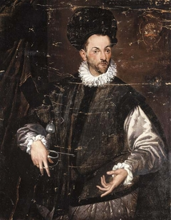 Portrait of Constantius de Ballis, three-quarter-length, in a black doublet, his right hand resting on the pummel of his sword