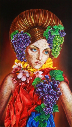 Portrait with grapes