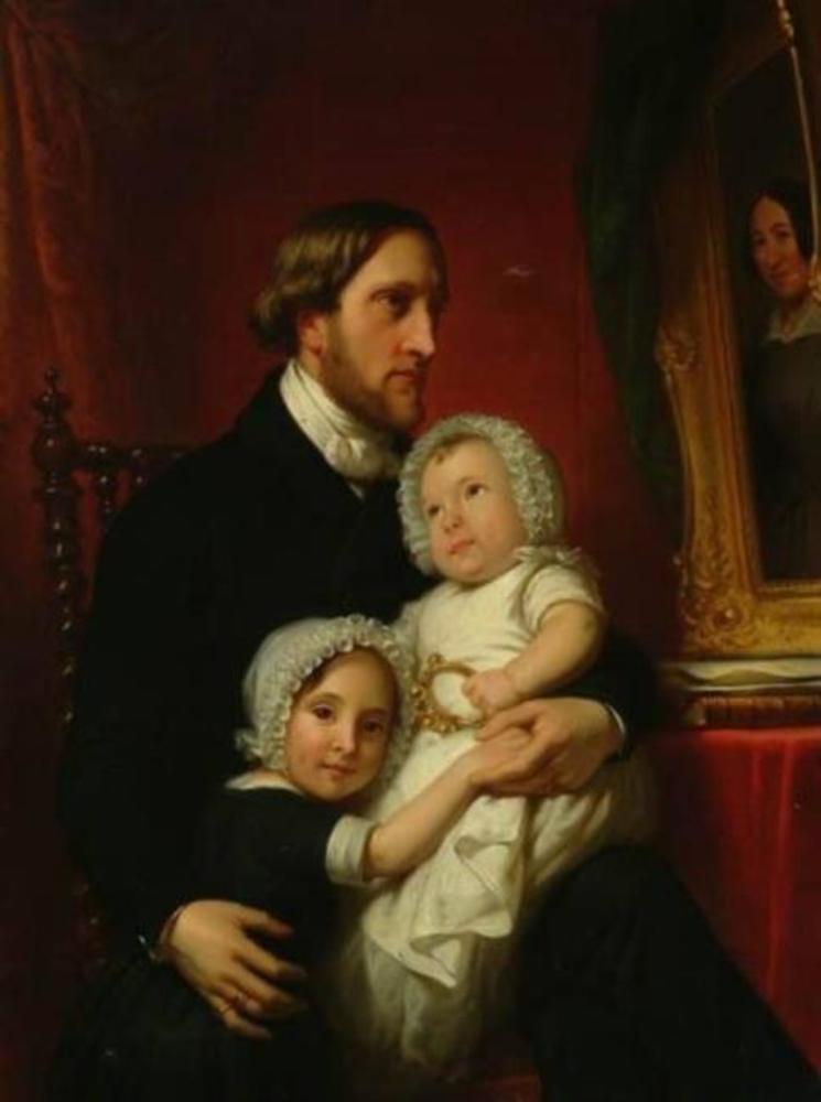 Portret van Mr. Simeon Petrus baron van Heemstra met zijn dochters