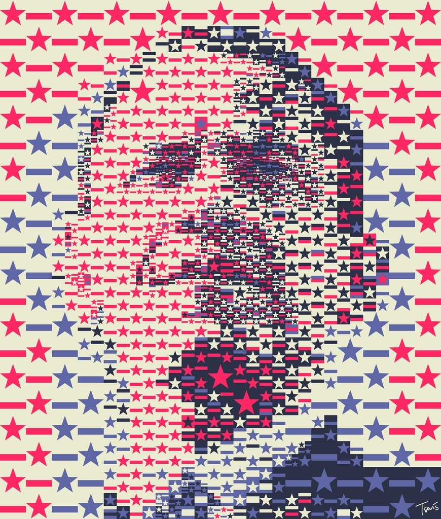 President Obama: The Stars and Stripes mosaic portrait
