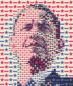 President Obama: The Stars and Stripes mosaic portrait