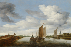 River Landscape with Sailing Boats and a Horse-Drawn Barge