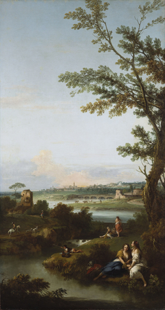 River Landscape with Two Seated Women Embracing