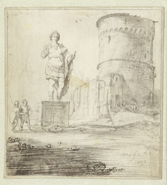 Romeins standbeeld en ruïnes