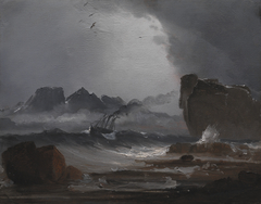 Rough Sea with a Steamer near the Coast of Norway