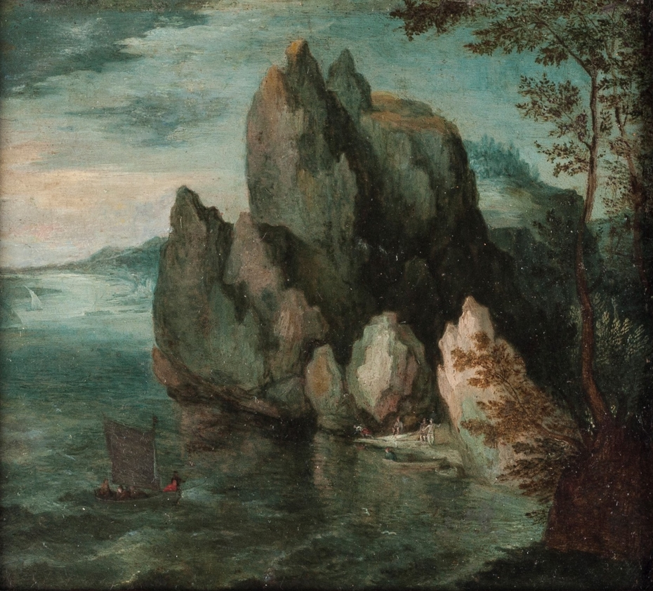 Seascape with a High Cliff
