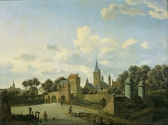 St. Severin in Cologne included in an imaginary Cityscape