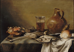 Still life with smoking equipment, herrings, a beer glass and a stone jug