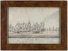 Tekening van de Slag bij Doggersbank, 5 augustus 1781