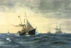 The Danish Royal yacht Dannebrog in the Skagerrak on November 25, 1905.
