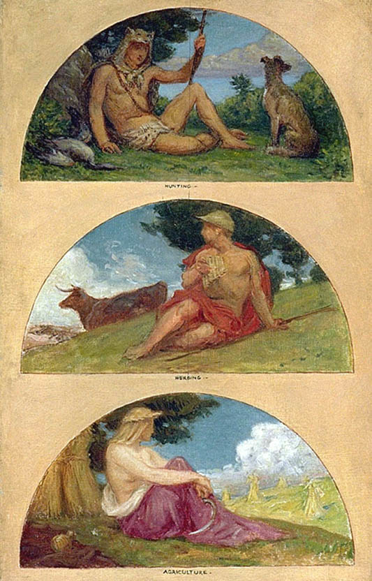 The Progress of Civilization: Hunting, Herding, Agriculture (mural study, State Capitol, Des Moines, Iowa)