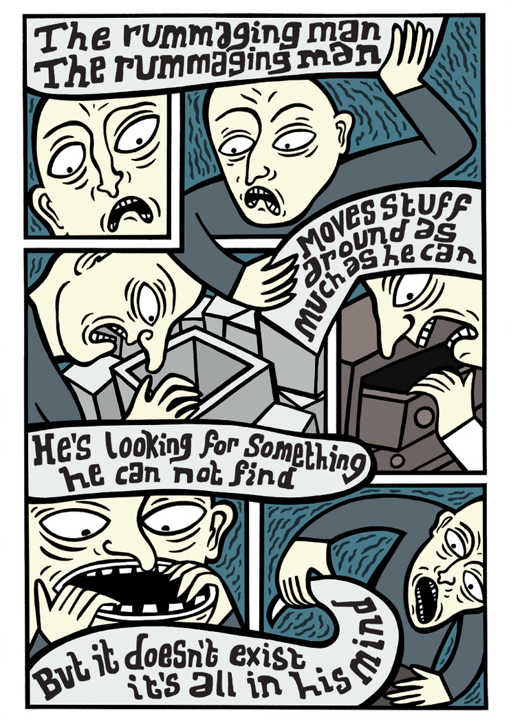 The rummaging man