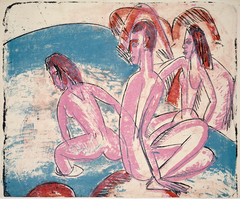 Three Bathers by Stones (Drei Badende an Steinen)