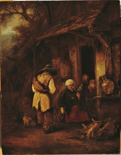 Traveler approaching a seated woman at a farm