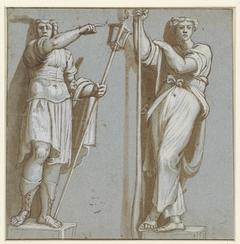 Twee caryatiden, onder de verdrijving van Heliodorus