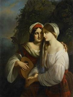 Twee vrouwen in Italiaanse dracht
