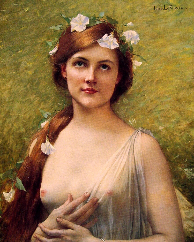 Young Woman with Morning Glories in Her Hair