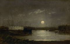 Untitled (moon over a harbor, wharf scene with full moon and masts of boats)