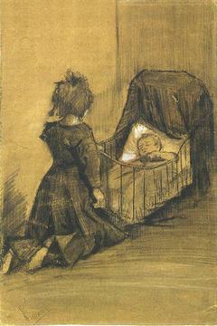Girl Kneeling by a Cradle