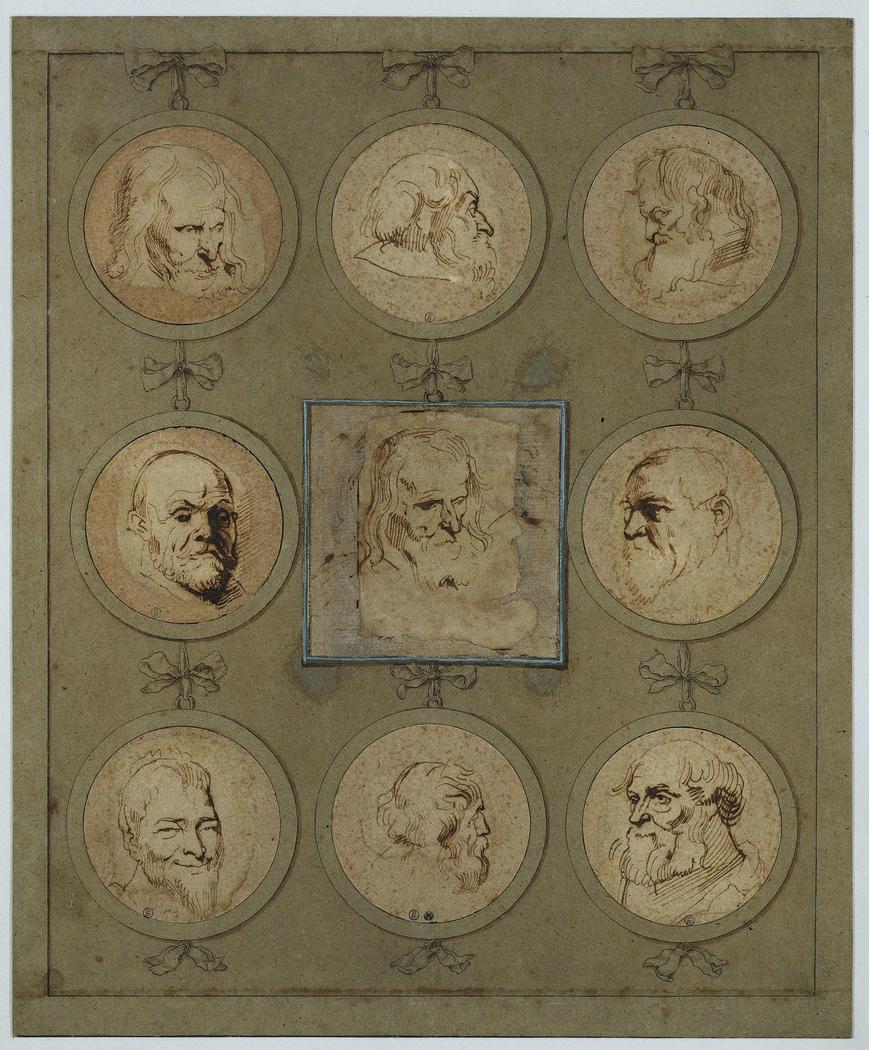 Verzamelblad met negen studiekoppen in medaillons