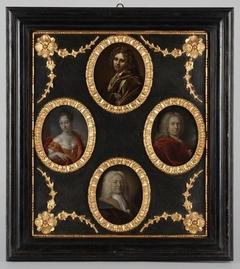Vier portretjes uit de families Brouwer en Van der Werff bij elkaar in één lijst