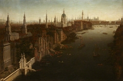 View of London with Somerset House, St Paul's Cathedral and Old London Bridge